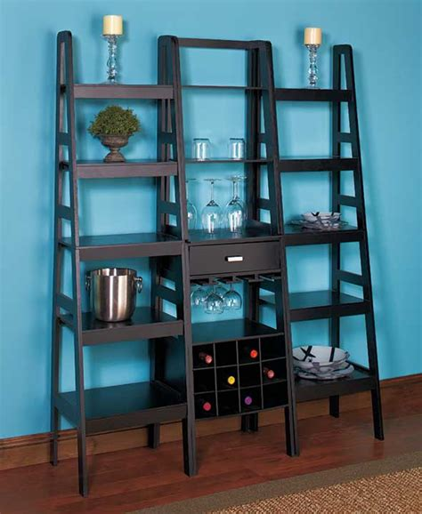 Living Room Storage Units Black New Black Wood Ladder Shelf Wine Rack Display Storage Unit