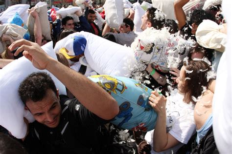 Worlds Largest Pillow Fight the world s largest pillow fight in nyc zimbio