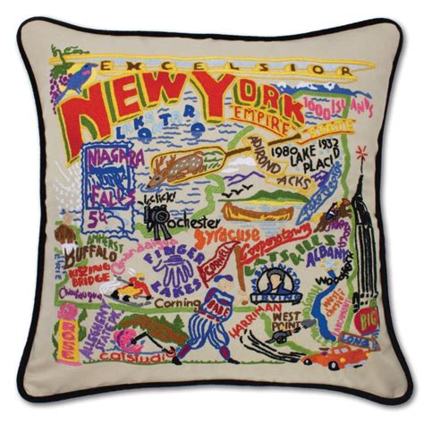 New York Embroidered Pillow by New York State Embroidered Pillow Geography Embroidered Pillows Shop
