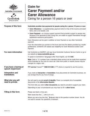centrelink certificate template carers allowance form templates fillable printable