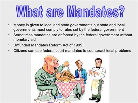 exles of unfunded mandates in federal grants and mandates