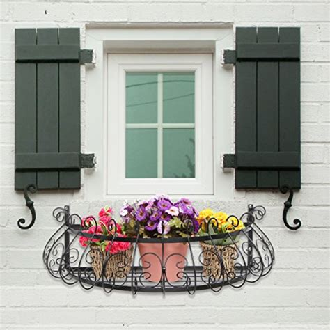 wall mounted window boxes black metal scrollwork design wall mounted flower plant