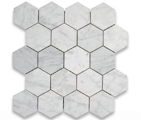 carrara carrera bianco polished 3 quot hexagon marble mosaic tile