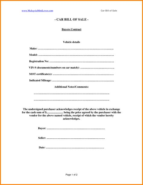 selling car contract template report format word