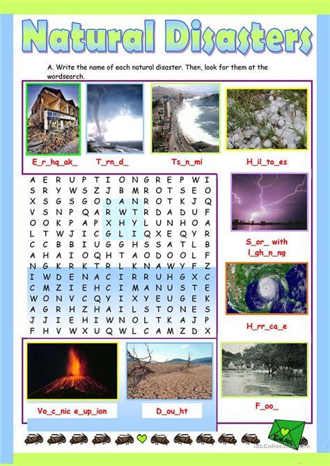 natural disasters worksheet free esl printable