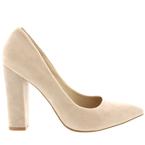 womens office evening block heel pointed toe pumps shoes