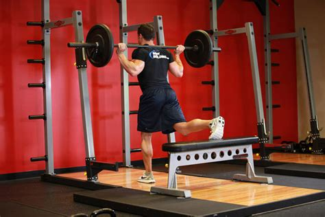 workout bench alternative one leg barbell squat exercise guide and video
