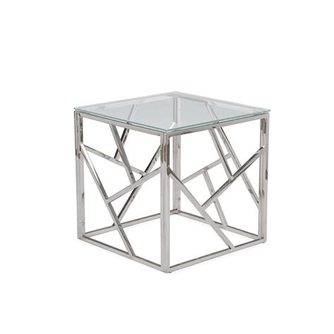 chrome and glass end table aero chrome glass side table modern furniture brickell