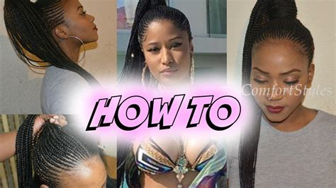 nicki minaj inspired feedin cornrows done by london s the best nicki minaj inspired ponytail braids detailed