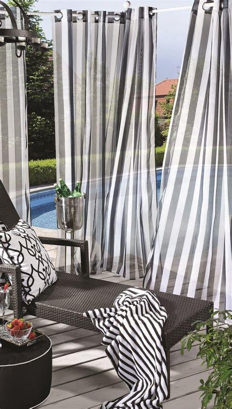 Porch Decor Escape Stripe Outdoor Sheers In Black Amp White Outdoor