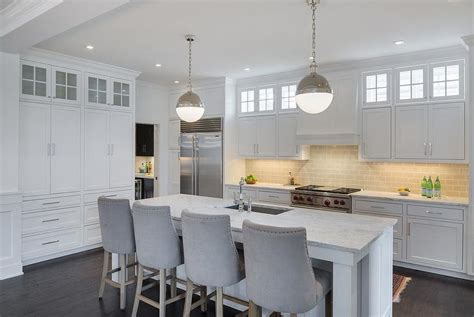 white kitchen islands with stools   Home Decor