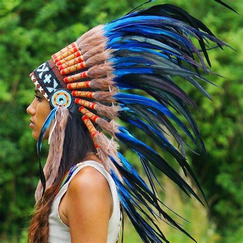 royal blue native american headdress 75cm indian
