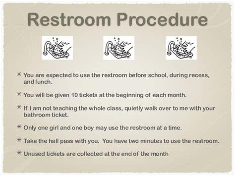 classroom bathroom procedures rules procedures