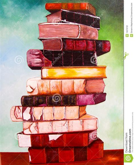 painting in the books books on canvas painting stock image image of fruit