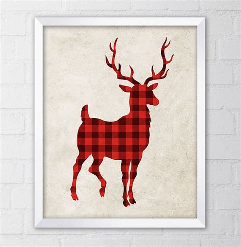 deer antlers and plaid for christmas deer print plaid wall lumberjack buffalo plaid cabin deer