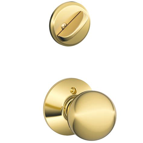 Interior Door Knob Shop Schlage Orbit 1 5 8 In To 1 3 4 In Bright Brass Single Cylinder Knob Entry Door Interior