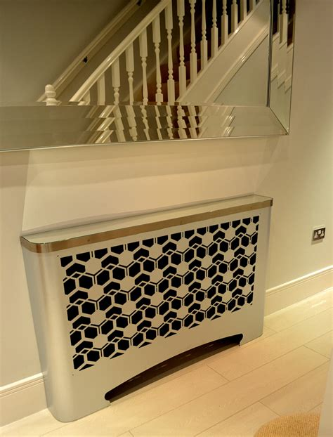 flower design radiator modern hallway radiator cover in geometric cubic design