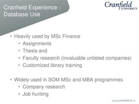 Cranfield Mba Review by Key Financials Fame Amadeus