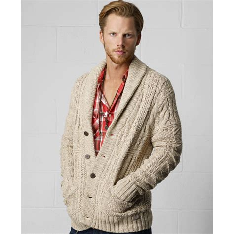 Collar Knitted Sweater mens cable knit sweater shawl collar sweater jacket