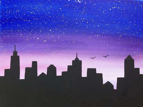 paint nite cities cityscapenight scenesilhouette16x20black paintingblue