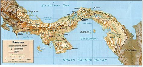 physical map of panama panama physical map 1995 size
