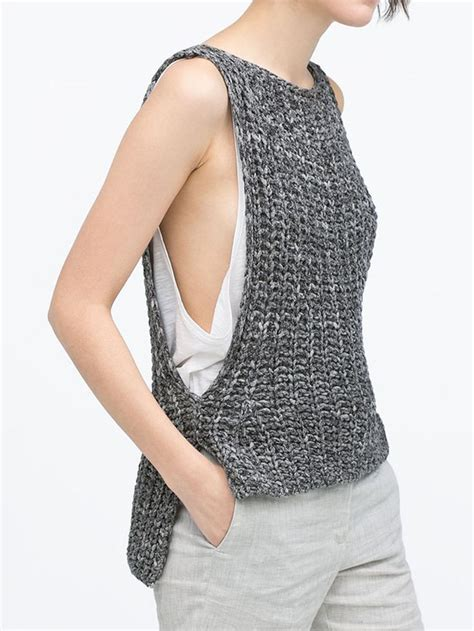 Top Knit 26 gray sleeveless dipped hem knit vest choies cool contempo knitting knitted