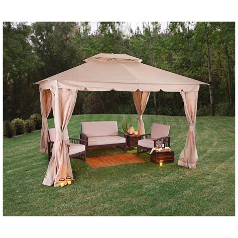 backyard gazebos castlecreek 10 x12 double roof backyard gazebo 581600