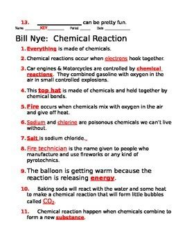 Bill Nye Chemical Reactions Worksheet Answers