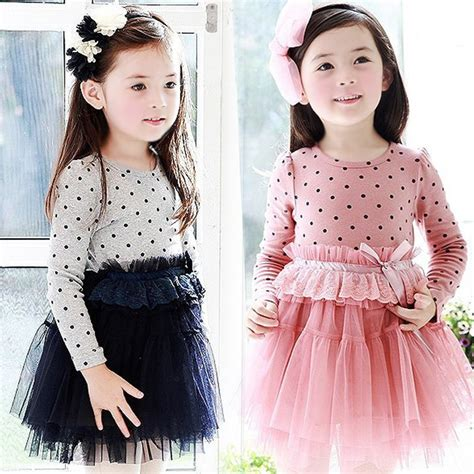 Of Tutu Dress Anak panjang anak sleeve dress gadis polka dots bow princess cotton tutu gaun freeshipping in dresses