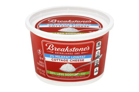 is cottage cheese high in sodium breakstone s small curd low sodium cottage cheese 16 oz