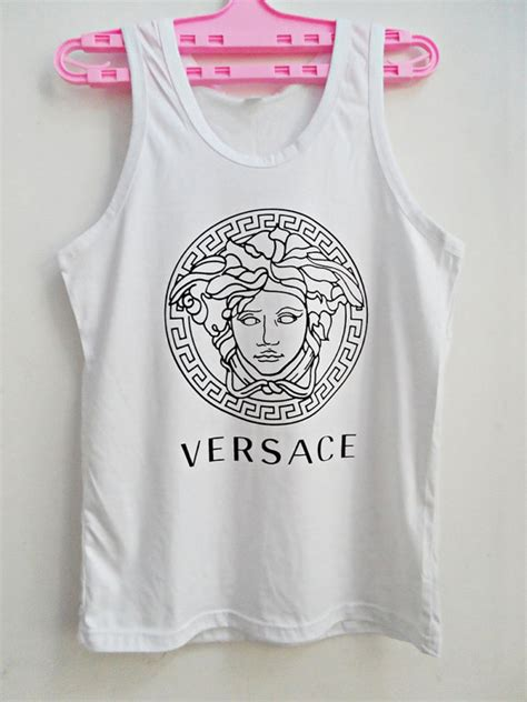 White Sequin Oversize S M L Top versace white tank top versace tshirt t shirt t shirt top tank sleeveless oversize