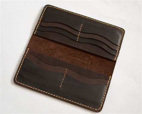 handmade wallet mens leather wallet sewing brown