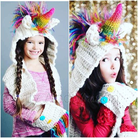 unicorn hood pattern rainbow unicorn hooded scarf sizes toddler child adult