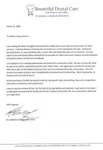 Dental Assistant Recommendation Letter by Clients Corner Construction