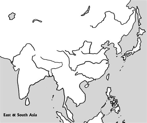 blank physical map of asia physical outline map of e s asia