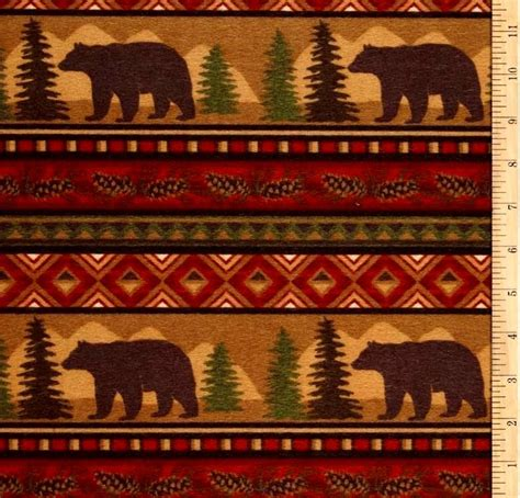 Upholstery Fabric Remnants Cotton Flannel Quilt Fabric Big Country Bear Stripe Brown
