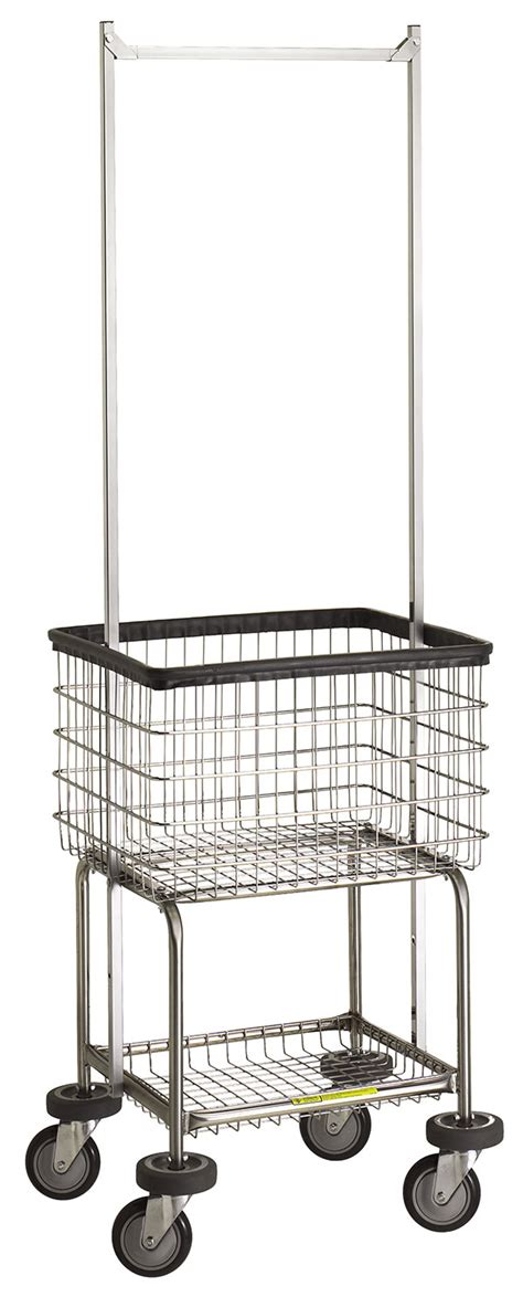Laundry Cart With Hanging Rack by R B Wire 300g55 Deluxe Elevated Wire Frame Metal Laundry Cart W Pole Rack 3 1 2