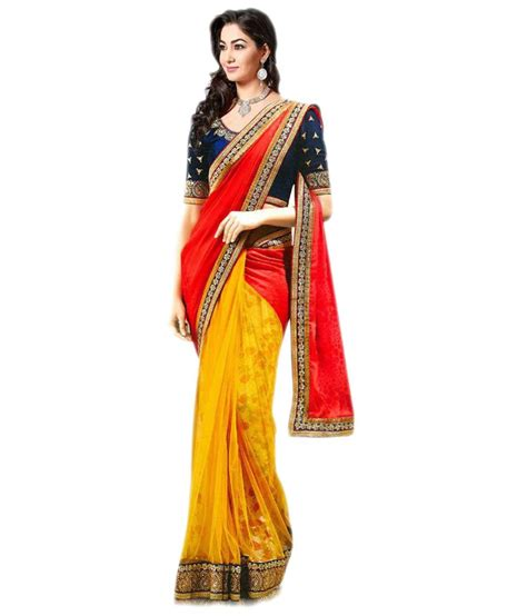 queen s queen s orange georgette saree buy queen s orange