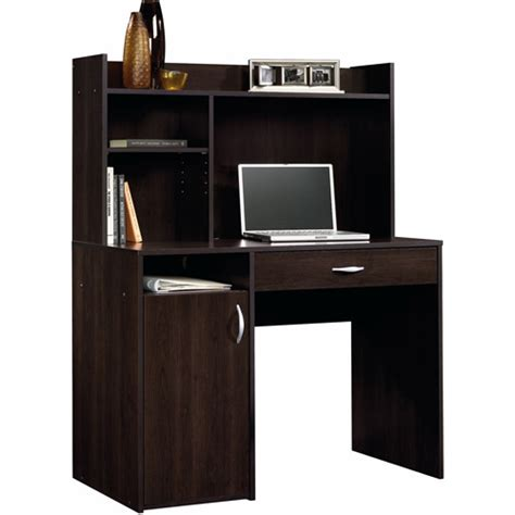 sauder beginnings computer desk with hutch sauder beginnings desk with hutch cinnamon cherry