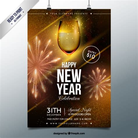 new year poster golden glass of chagne new year poster vector free