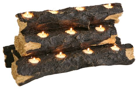 tealight fireplace log rustic candles and