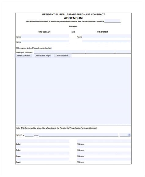 Real Estate Form 9 Free Sle Exle Format Free Premium Templates Free Addendum Sticker Template