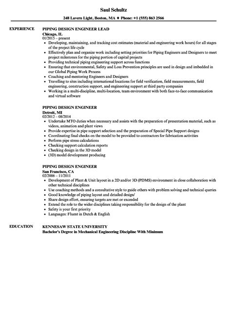 piping layout questionnaire piping engineer sle resume sales sle resume format