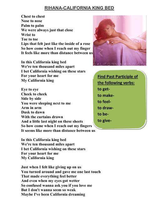 california king bed song song worksheet california king bed by rihana