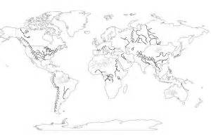 blank world map rivers and mountains