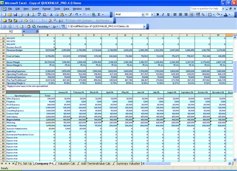 p l spreadsheet template excel templates benchmarks valuation