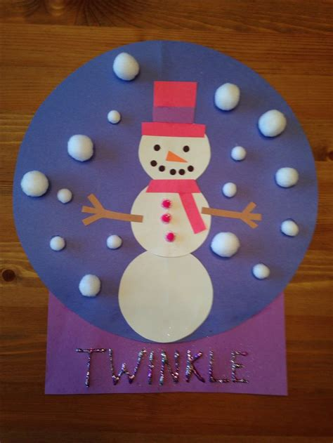 snowman snow globe craft snowgirl craft winter craft