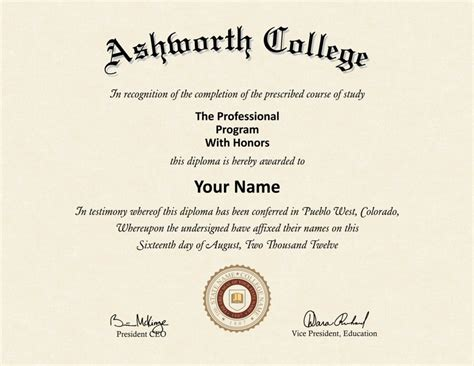Fake Ashworth College Diploma   Diploma Outlet