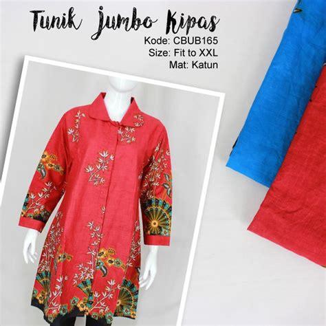 Ch4367 Jumbo Tunik Tarida Batik tunik gantari jumbo motif kipas blus lengan panjang murah batikunik