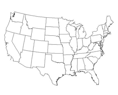 Usa Map States Outline by Printable Maps Of United States Of America